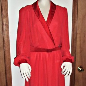 Red Sheer Evening Holiday Dress Vintage LS Size 14